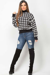 dogtooth knitted high neck jumper womens