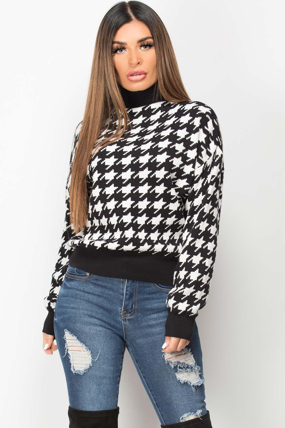 high neck dogtooth knitted jumper womens