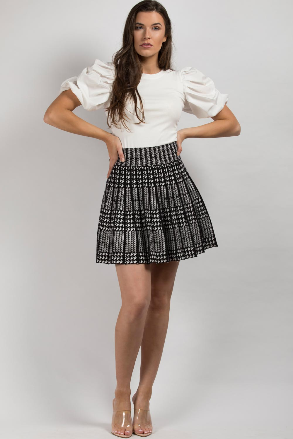 dogtooth skater skirt