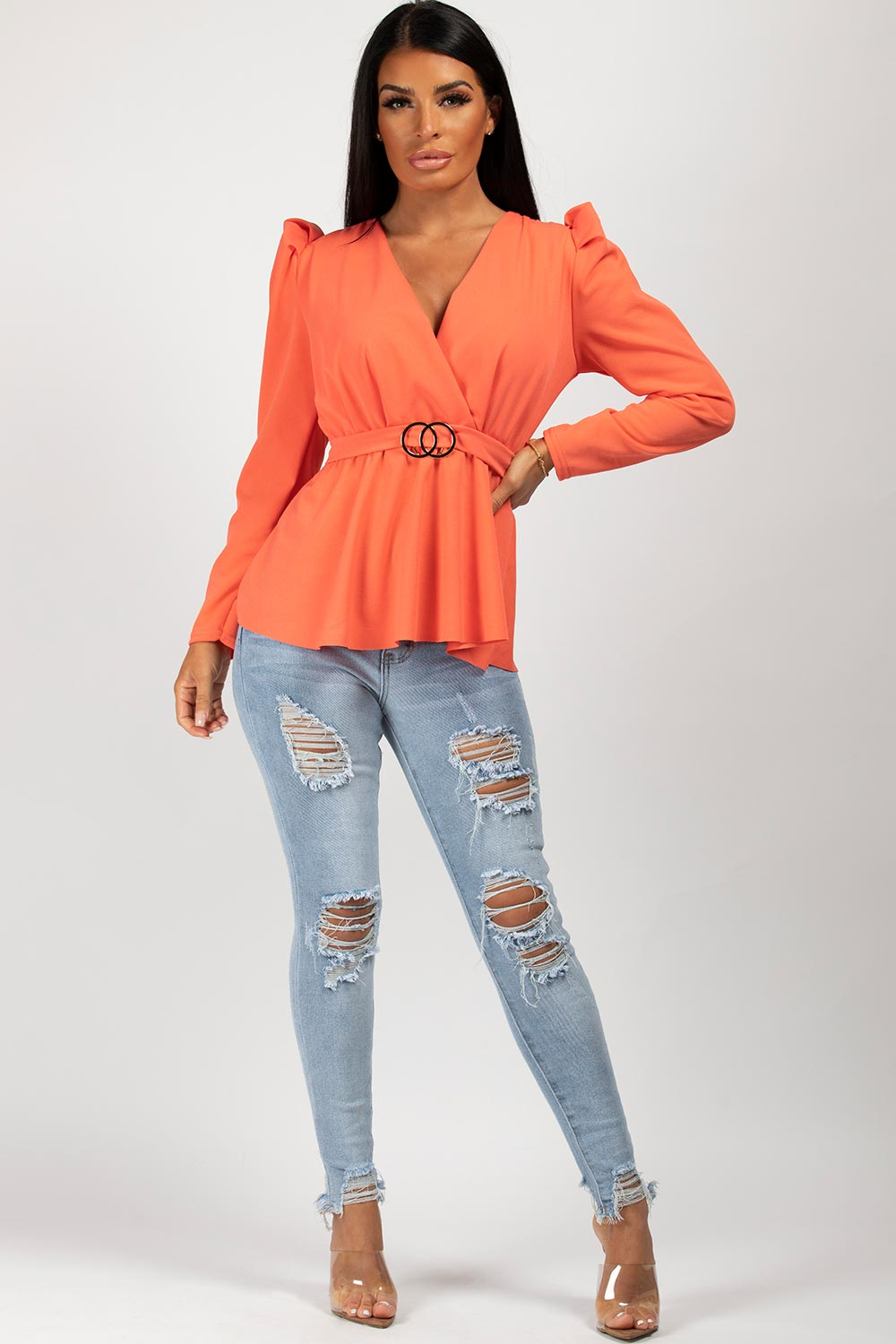 cc buckle puff sleeve top coral
