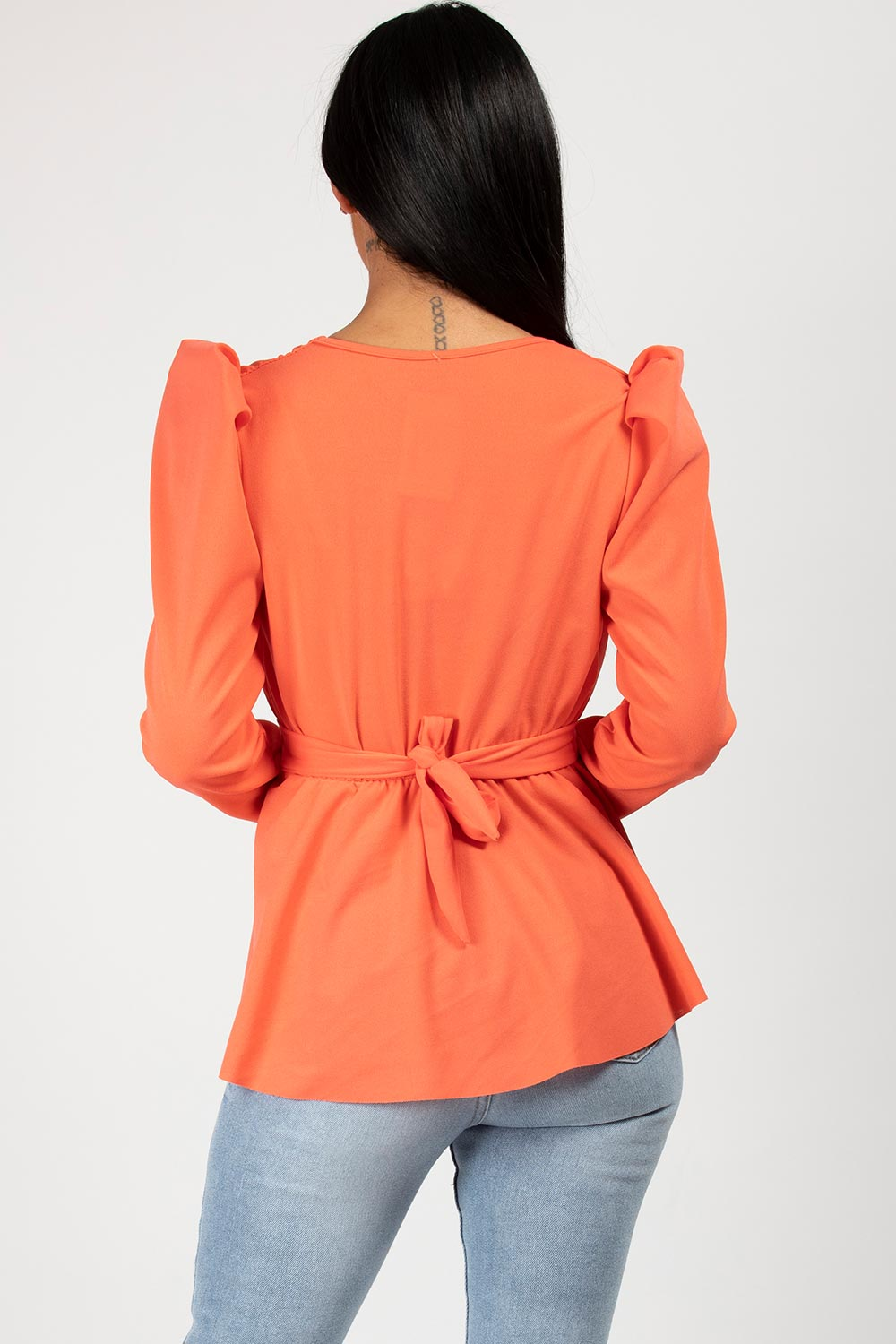 coral cc buckle long puff sleeve top