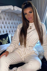 beige ribbed loungewear set