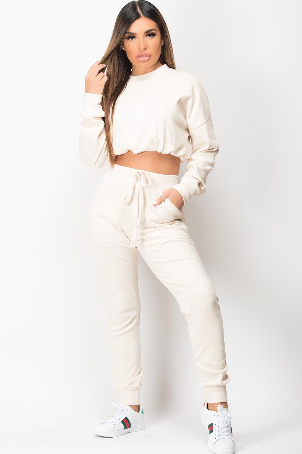 ribbed loungewear set beige