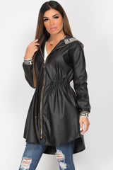faux leather hooded jacket black