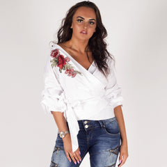 Styledup White Floral Rose Embroidery Wrap Shirt
