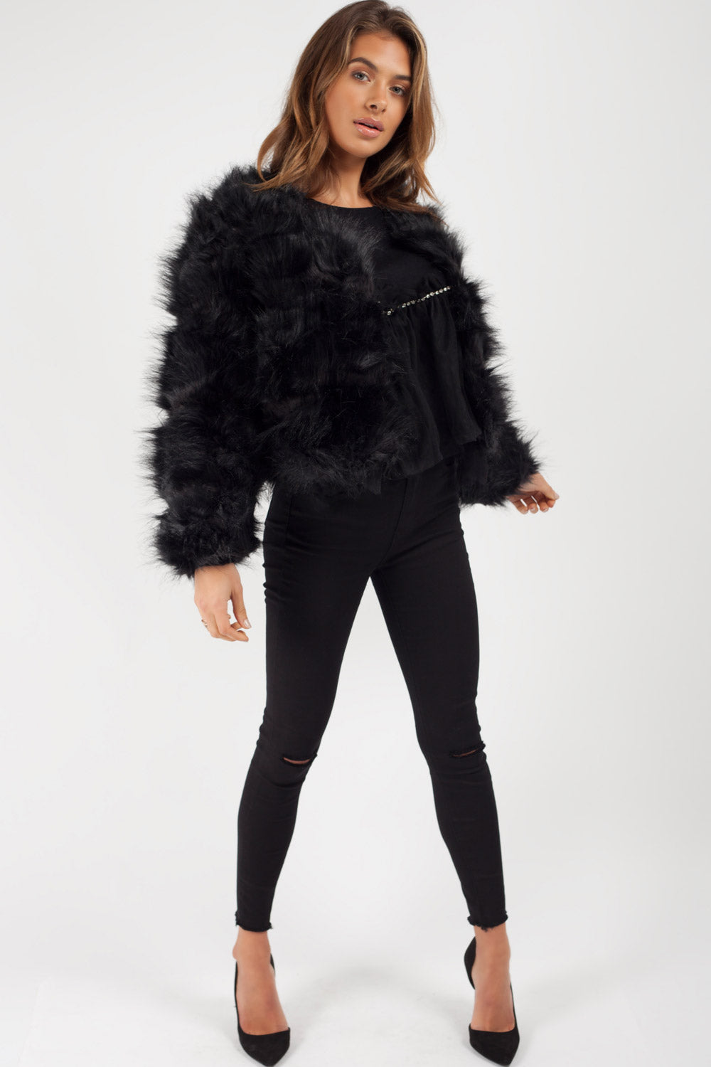 black faux fur coat uk