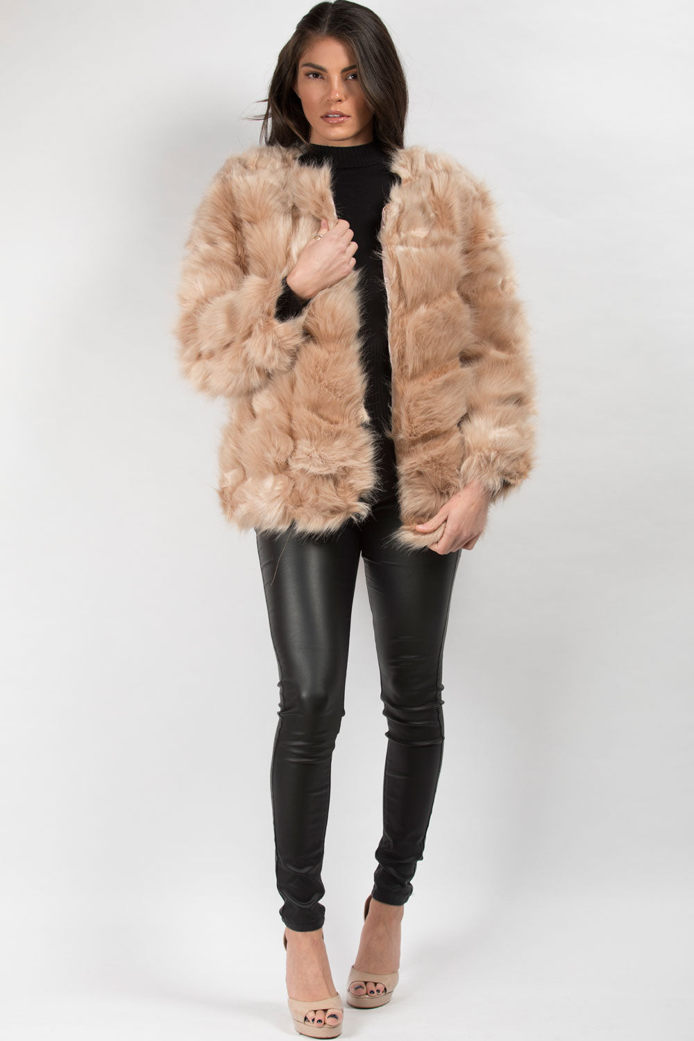 Nude Faux Fur Coat