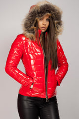 red wetlook faux fur hood jacket womens