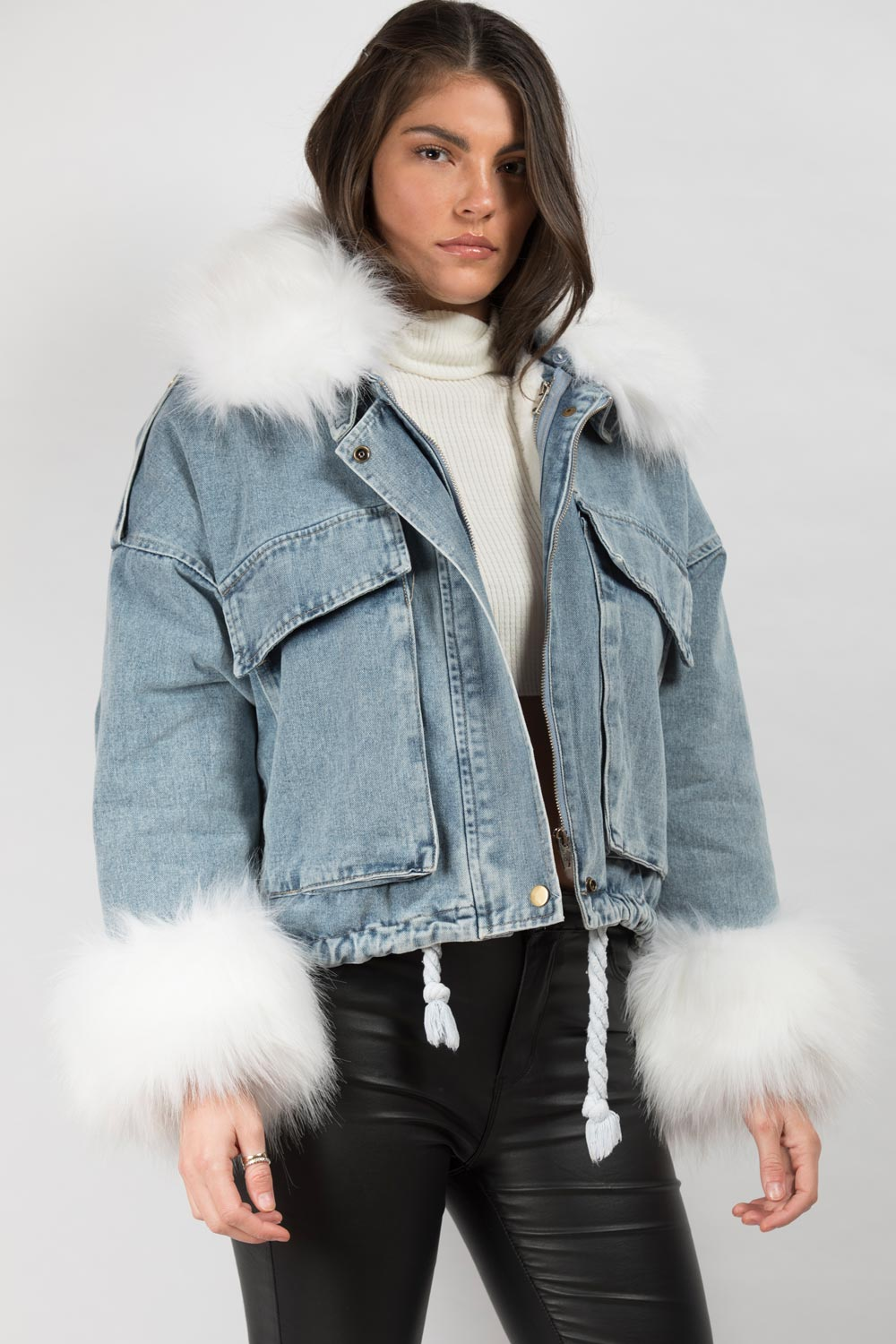white faux fur collar denim oversized jacket