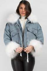faux fur collar oversized jacket