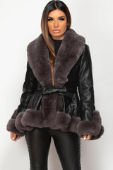 black faux fur faux leather belted jacket