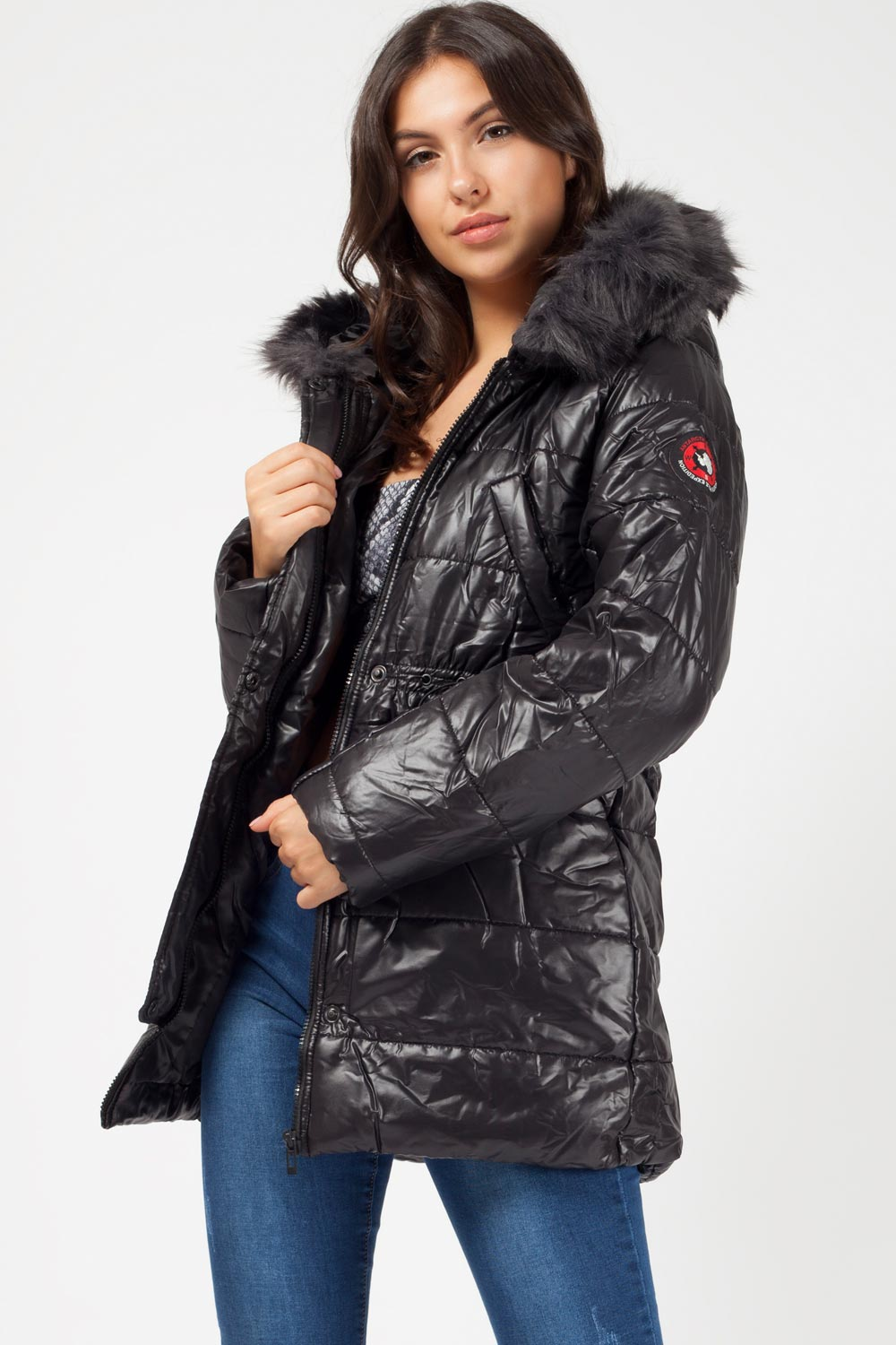 black faux fur hood coat