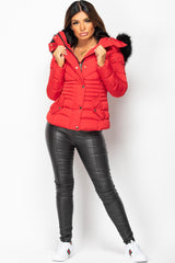 faux fur hooded padded coat womens