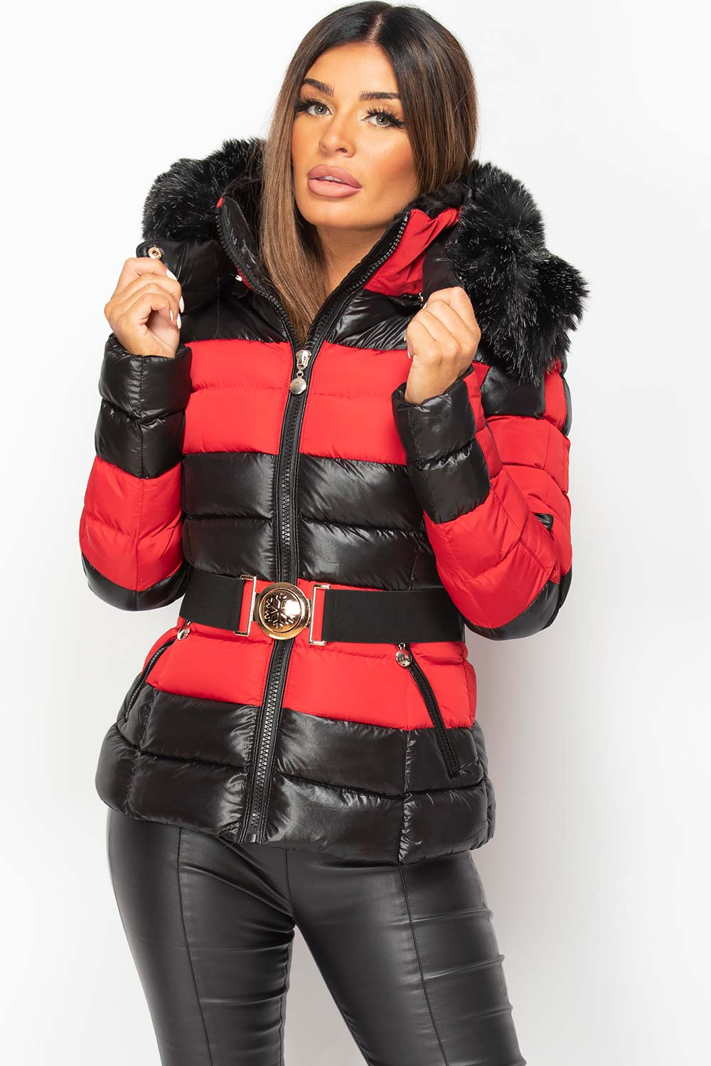 red and black puffer coat with belt