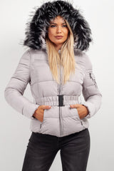 fur hooded puffer coat womens