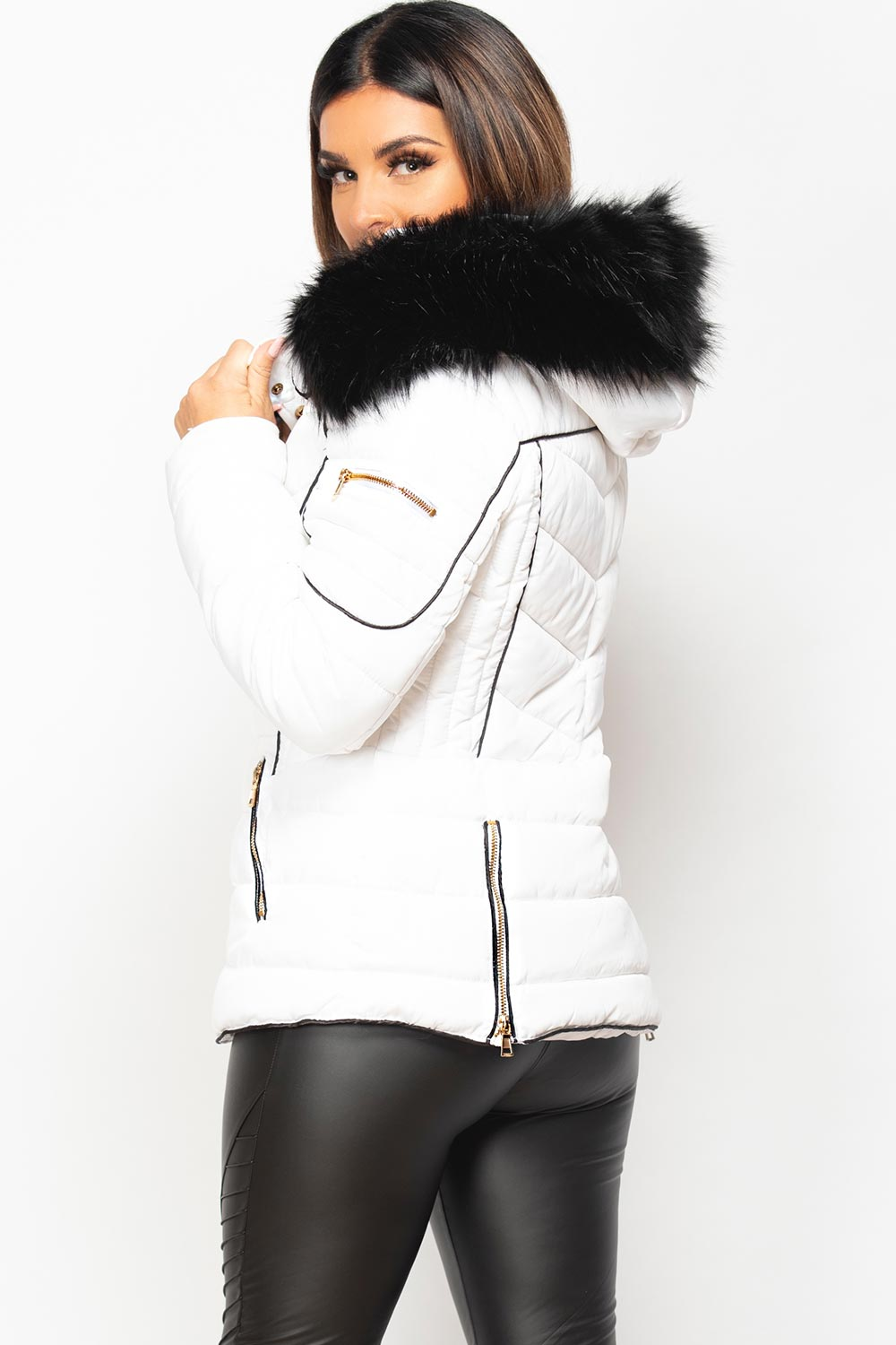 faux fur hooded puffer coat womens