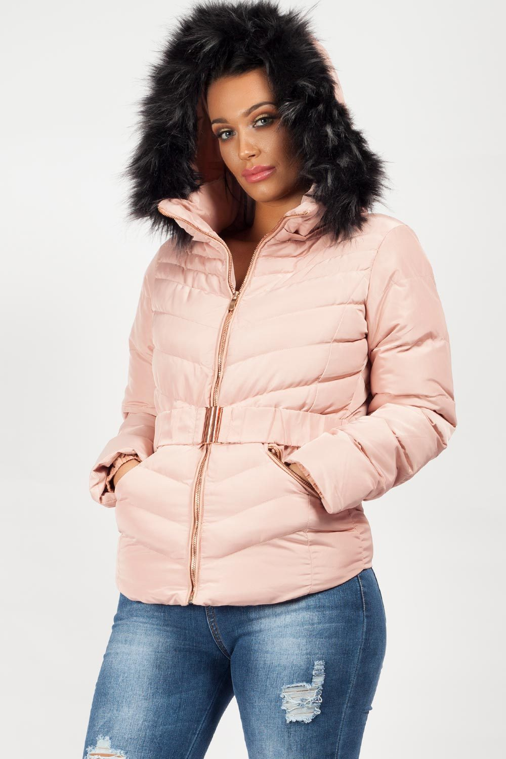 pink faux fur hooded coat uk uk16