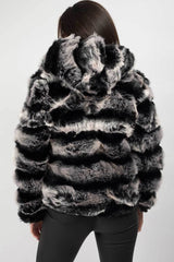 faux fur hooded coat grey