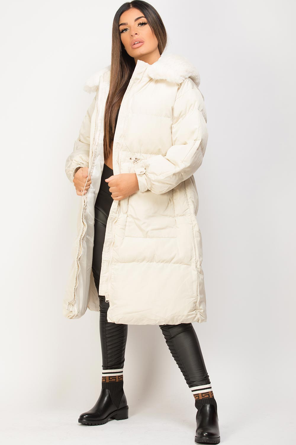 longline puffer down coat cream