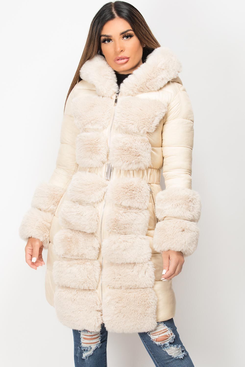 faux fur hooded belted puffer down jacket