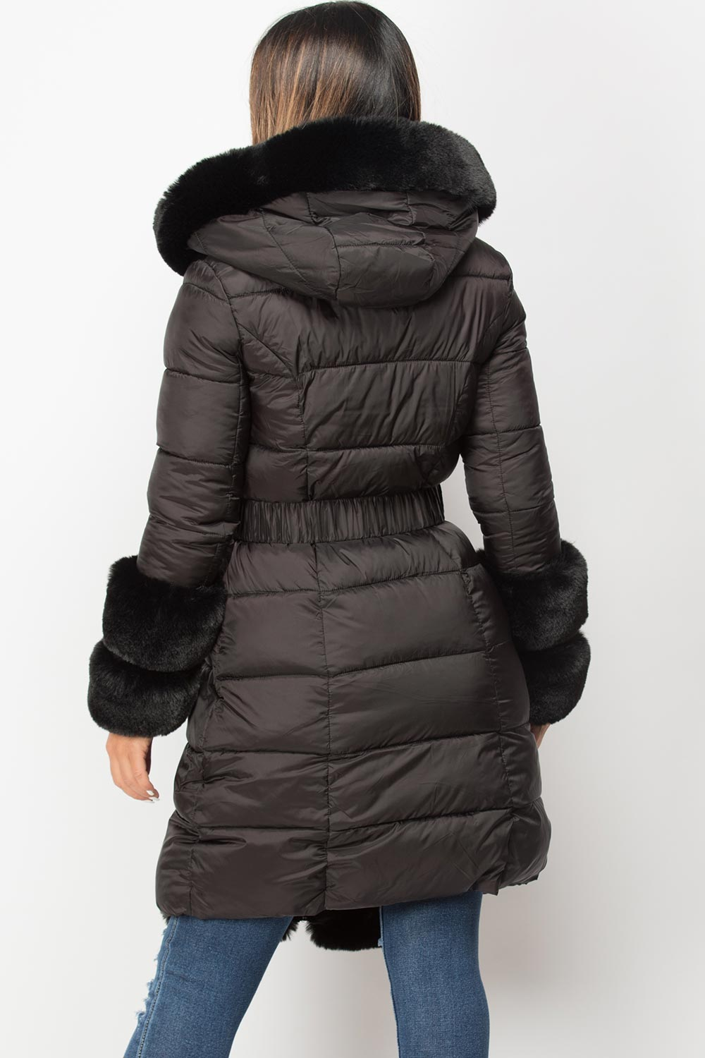 black puffer down coat with faux fur trim