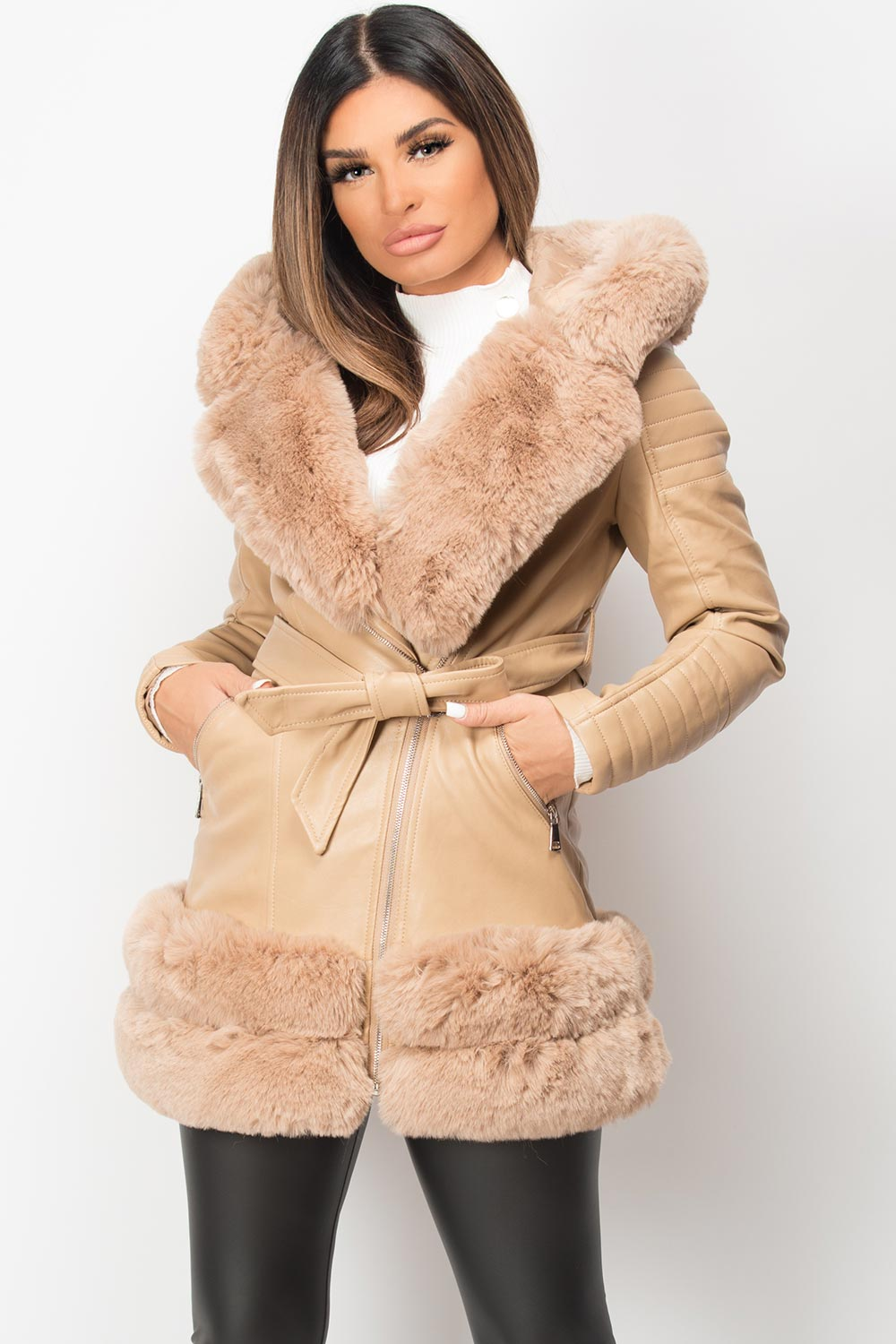 beige faux fur faux leather jacket with hood