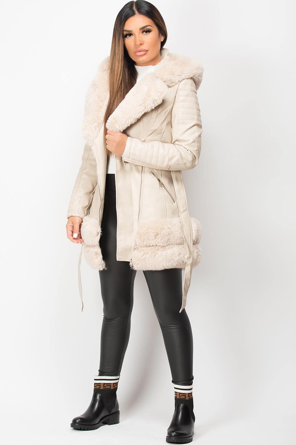 faux fur faux leather jacket cream