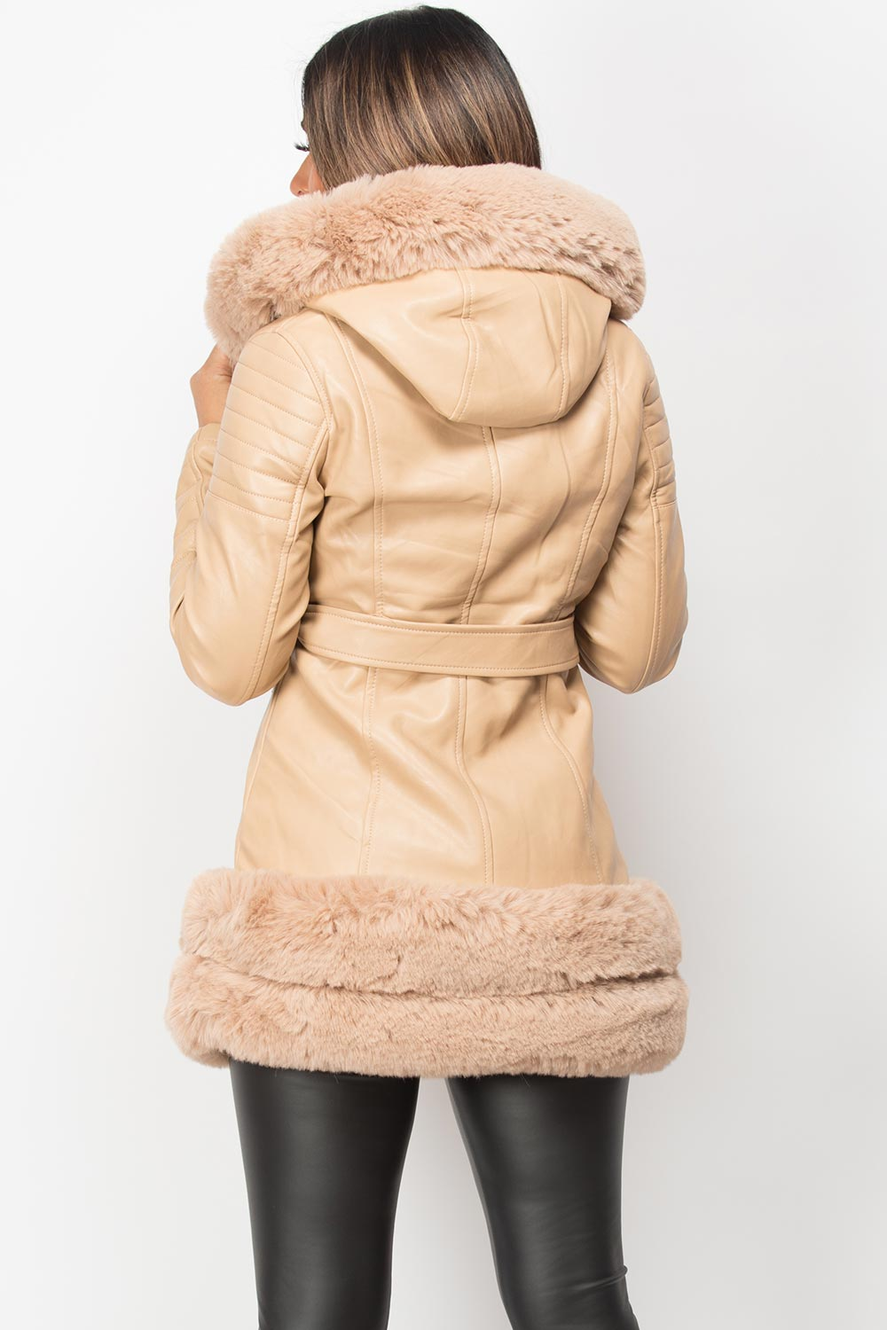 beige faux fur hooded faux leather jacket