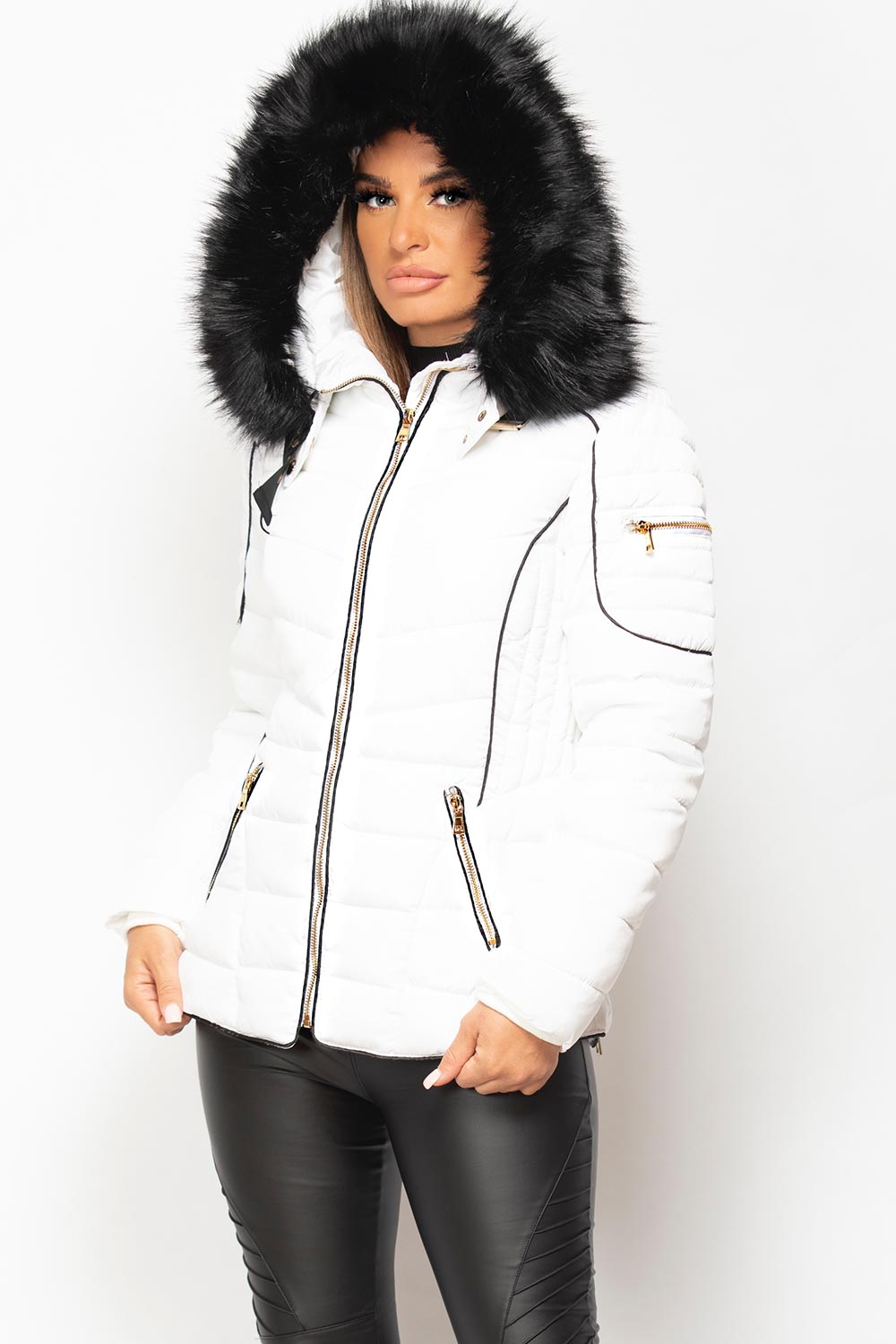 white padded puffer coat womens