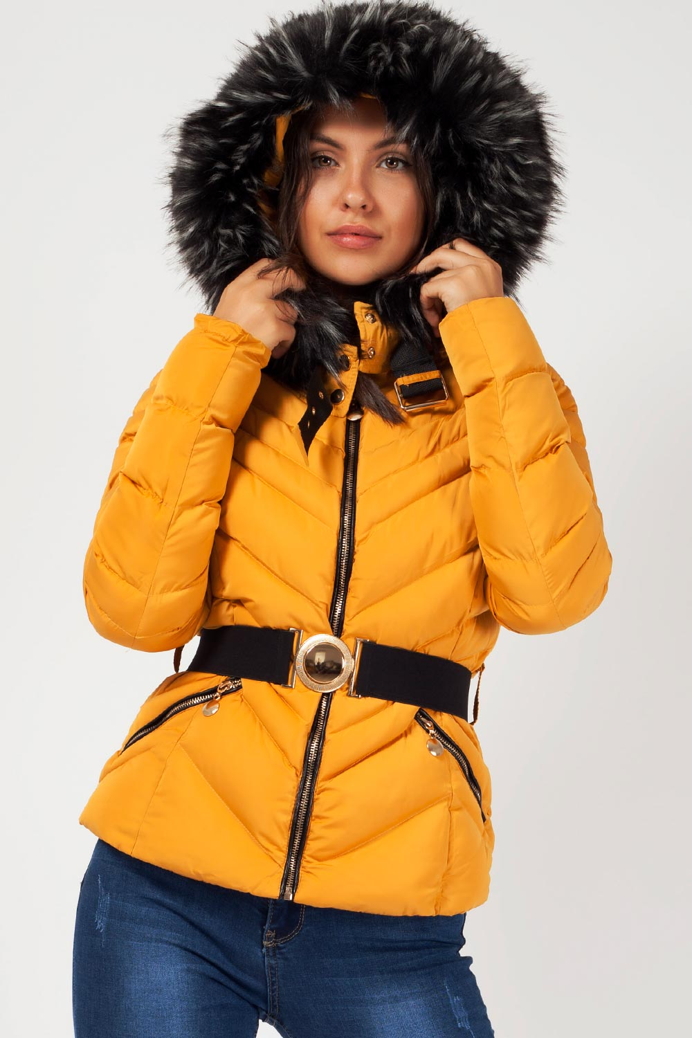 faux fur padded hooded coat
