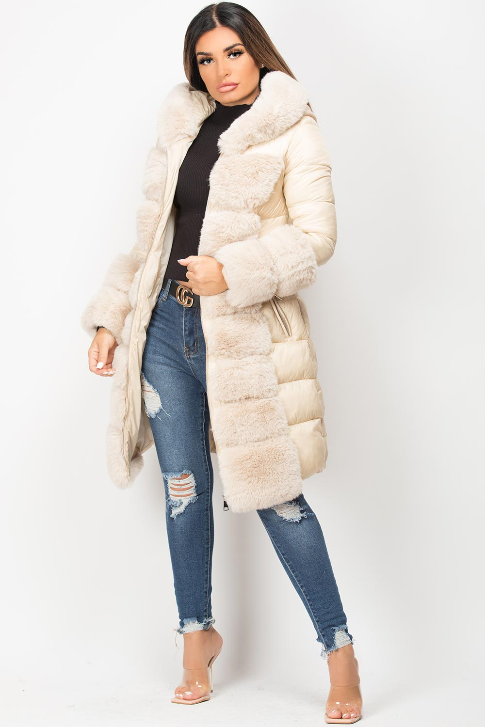 beige faux fur hood padded long jacket with belt