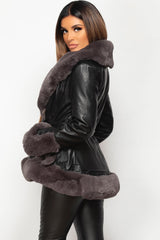 faux fur trim faux leather belted jacket