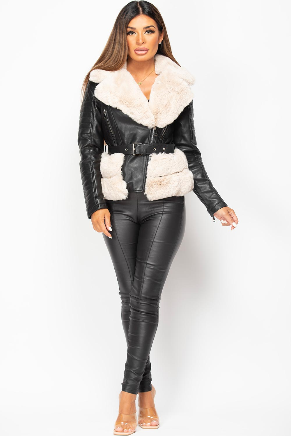 womens black faux leather faux fur belted jacket