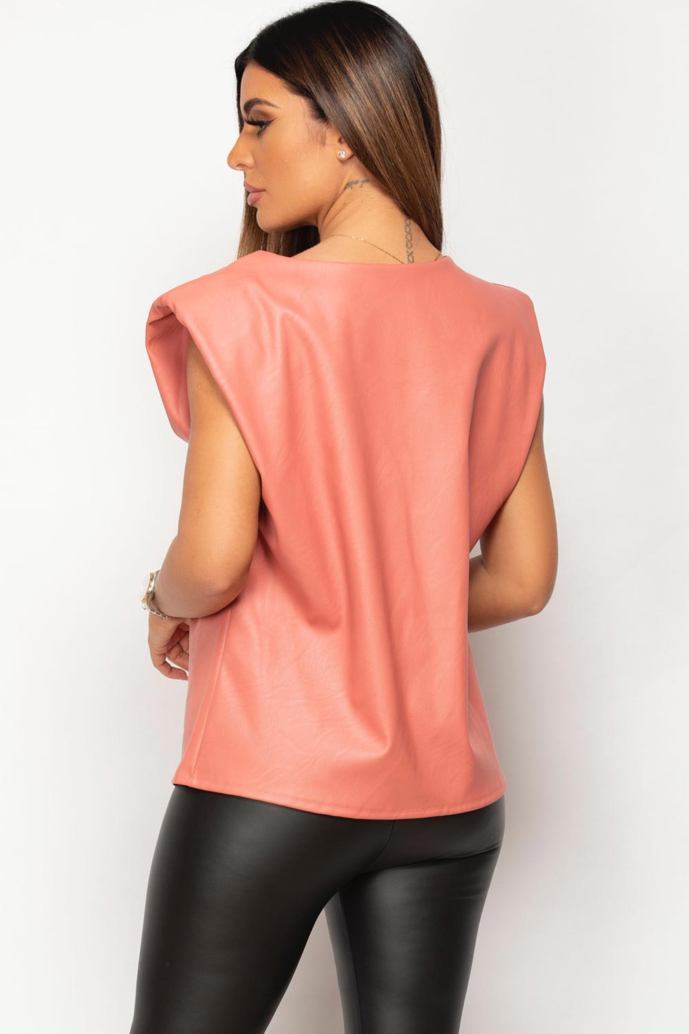 pink padded shoulder faux leather top