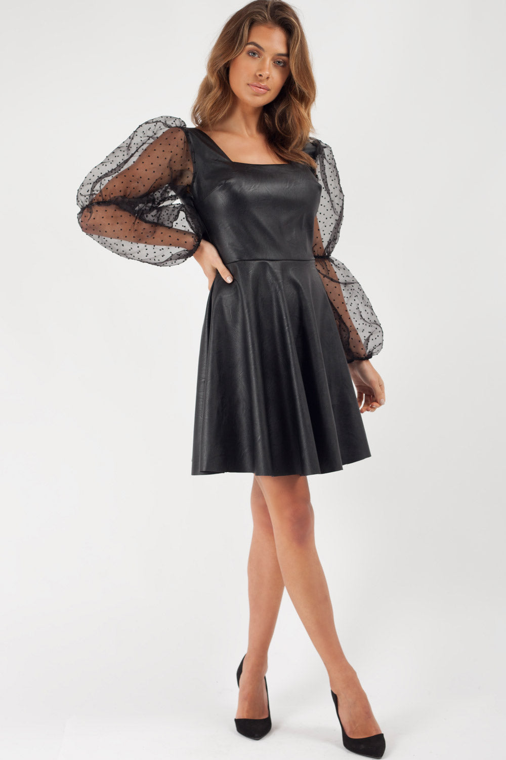 polka dot puff sleeve faux leather skater dress black