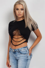 black front ripped crop top
