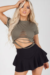ripped front crop top khaki