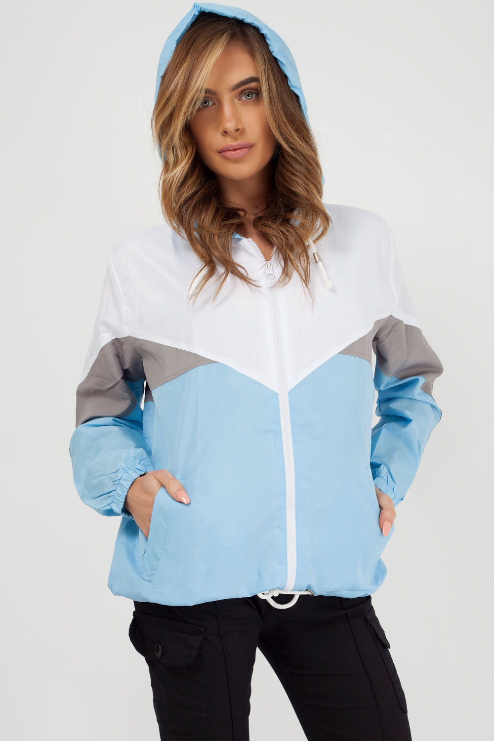 womens festival jacket sky blue styledup fashion