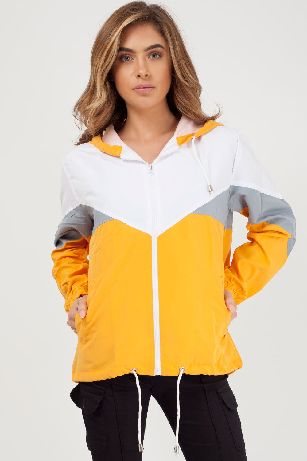 mustard colour block wind breaker
