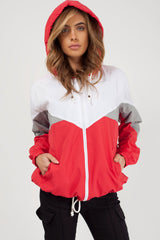 red hooded paneled windbreaker womens styledup fashion