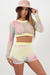 fishnet crop top and shorts co ord set styledup fashion