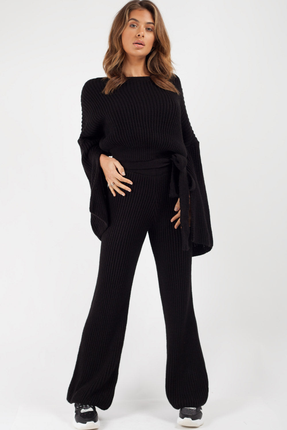 black chunky knit loungewear set