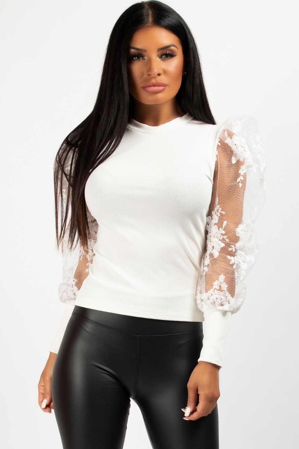 White Sheer Lace Floral Sleeve Ribbed Top