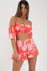 floral crop top and shorts two piece set