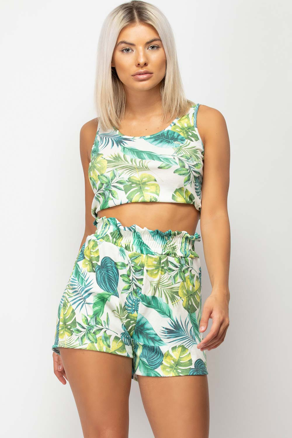 ribbed crop top and shorts lounge set