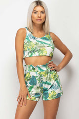 shorts and crop top two piece set