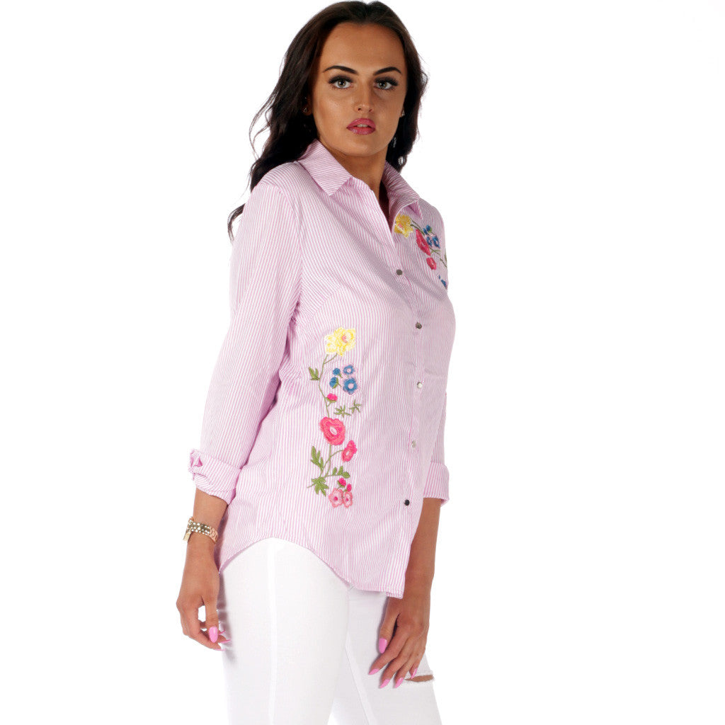 Pink FLoral Embroidered Striped Shirt Styledup