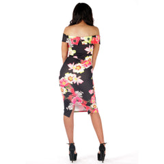 Floral Off Shoulder Bodycon Midi Dress Black Styledup