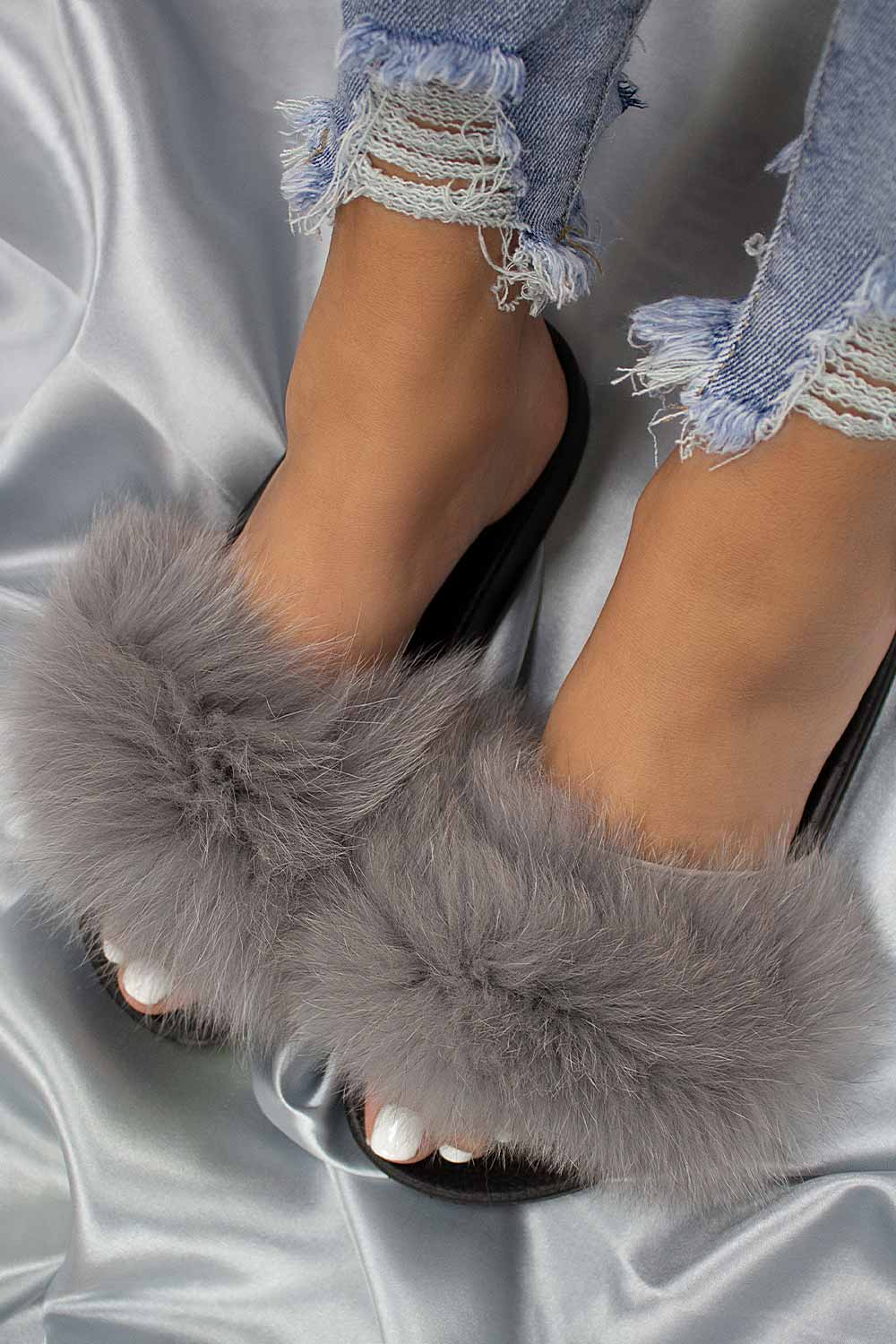 gray fluffy fur sliders uk