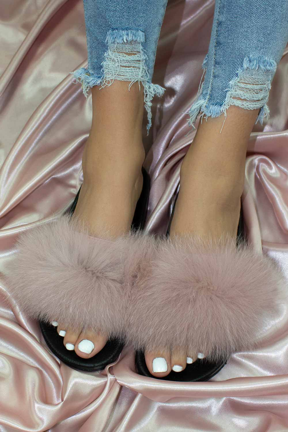 pink fur sliders uk